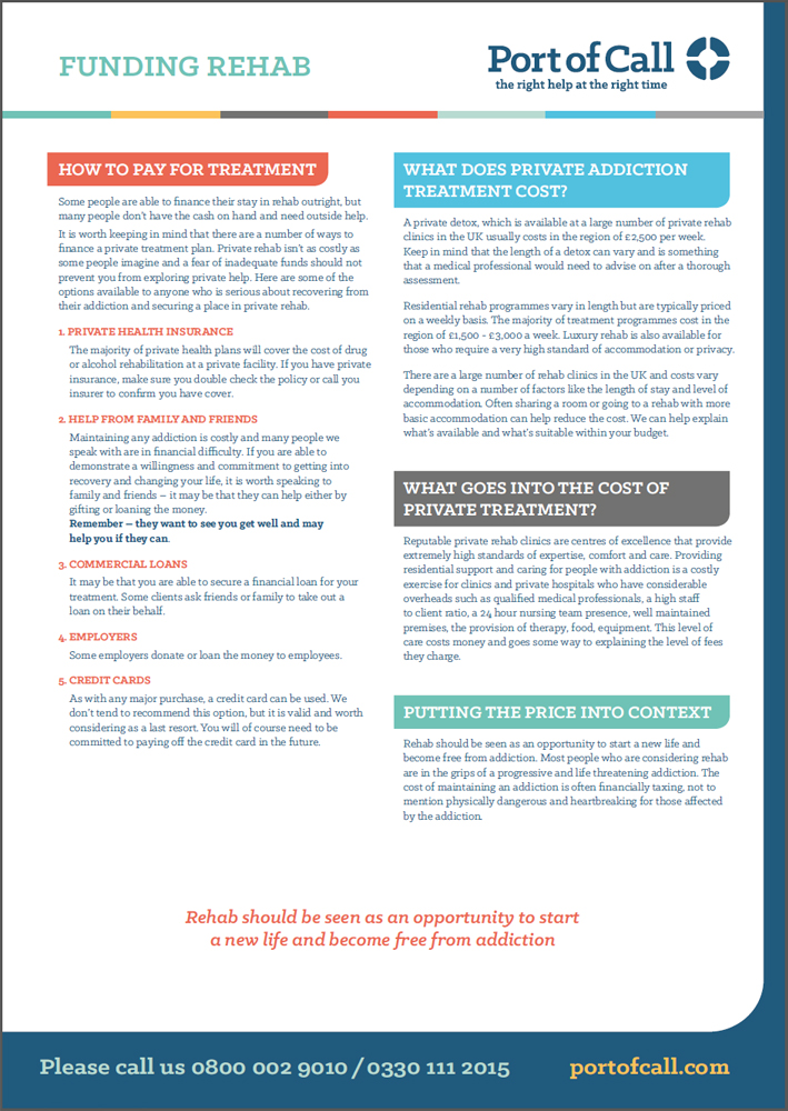 A fact sheet looking at how to fund rehab