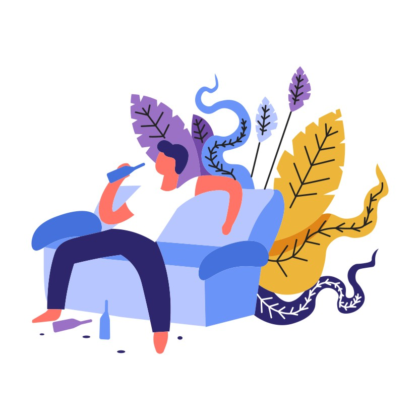 Illustration of an alcoholic man drinking alcohol sitting on a sofa